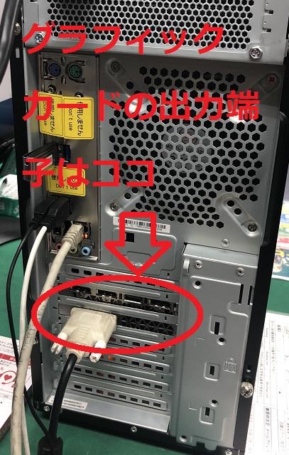 グラフィックカード搭載製品の映像出力端子は背面下部にあります。