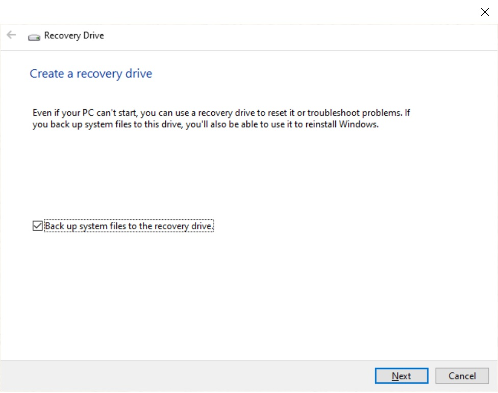 "The screen of the ""Recovery Drive""."
