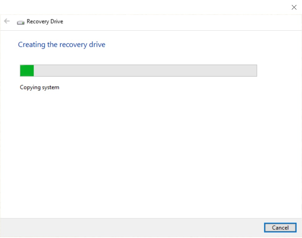 Creating the recovery drive