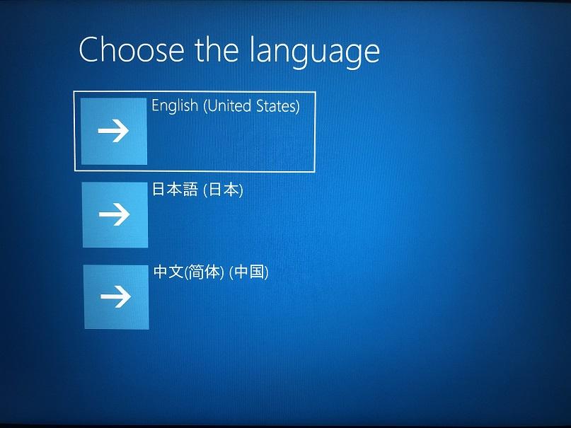 select 'English(United States)'.